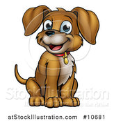 Vector Illustration of a Cartoon Happy Puppy Dog Sitting by AtStockIllustration