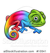 Vector Illustration of a Cartoon Happy Rainbow Chameleon Lizard by AtStockIllustration