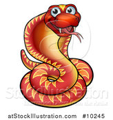 Vector Illustration of a Cartoon Happy Red Cobra Snake by AtStockIllustration