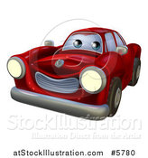 Vector Illustration of a Cartoon Happy Red Vintage Convertible Car by AtStockIllustration