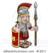 Vector Illustration of a Cartoon Happy Roman Soldier Giving a Thumb Up, Holding a Spear and Leaning on a Shield by AtStockIllustration