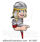 Vector Illustration of a Cartoon Happy Roman Soldier Pointing Around a Sign by AtStockIllustration