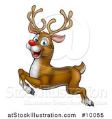 Vector Illustration of a Cartoon Happy Rudolph Red Nosed Reindeer Leaping or Flying by AtStockIllustration