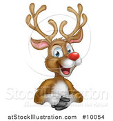 Vector Illustration of a Cartoon Happy Rudolph Red Nosed Reindeer over an Edge by AtStockIllustration