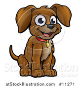 Vector Illustration of a Cartoon Happy Sitting Puppy by AtStockIllustration