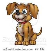 Vector Illustration of a Cartoon Happy Sitting Puppy Dog by AtStockIllustration