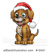 Vector Illustration of a Cartoon Happy Sitting Puppy Dog Wearing a Santa Hat by AtStockIllustration