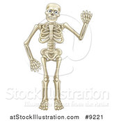 Vector Illustration of a Cartoon Happy Skeleton Waving by AtStockIllustration