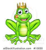 Vector Illustration of a Cartoon Happy Smiling Green Frog Prince with a Liptstick Kiss on His Cheek by AtStockIllustration