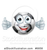 Vector Illustration of a Cartoon Happy Soccer Ball Character Giving Two Thumbs up by AtStockIllustration
