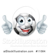 Vector Illustration of a Cartoon Happy Soccer Ball Mascot Character Giving Two Thumbs up by AtStockIllustration