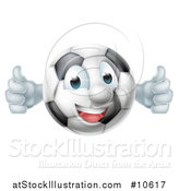 Vector Illustration of a Cartoon Happy Soccer Ball Mascot Giving Two Thumbs up by AtStockIllustration