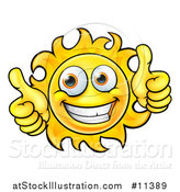 Vector Illustration of a Cartoon Happy Sun Character Holding Two Thumbs up by AtStockIllustration