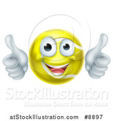 Vector Illustration of a Cartoon Happy Tennis Ball Character Giving Two Thumbs up by AtStockIllustration
