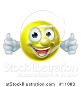 Vector Illustration of a Cartoon Happy Tennis Ball Mascot Character Giving Two Thumbs up by AtStockIllustration