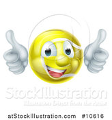 Vector Illustration of a Cartoon Happy Tennis Ball Mascot Giving Two Thumbs up by AtStockIllustration