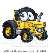 Vector Illustration of a Cartoon Happy Tractor Mascot by AtStockIllustration