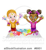 Vector Illustration of a Cartoon Happy White and Black Girls Sitting on the Floor and Painting with Their Hands by AtStockIllustration