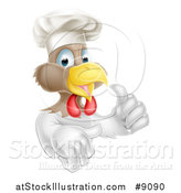 Vector Illustration of a Cartoon Happy White and Brown Chef Chicken Wearing a Toque Hat and Giving a Thumb by AtStockIllustration