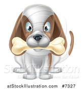 Vector Illustration of a Cartoon Happy White and Brown Dog Sitting with a Bone in His Mouth by AtStockIllustration