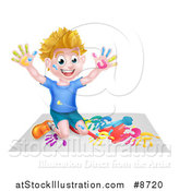 Vector Illustration of a Cartoon Happy White Boy Kneeling and Hand Painting Artwork by AtStockIllustration