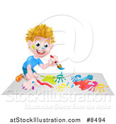 Vector Illustration of a Cartoon Happy White Boy Kneeling and Painting Artwork by AtStockIllustration