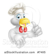 Vector Illustration of a Cartoon Happy White Chef Chicken Giving a Thumb up by AtStockIllustration