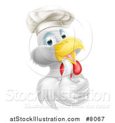 Vector Illustration of a Cartoon Happy White Chef Chicken Wearing a Toque Hat and Giving a Thumb by AtStockIllustration