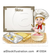Vector Illustration of a Cartoon Happy White Female Chef Baker Mixing Frosting and Making Cookies Under a Menu by AtStockIllustration