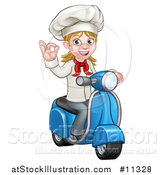 Vector Illustration of a Cartoon Happy White Female Chef Gesturing Ok and Riding a Scooter by AtStockIllustration