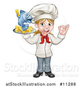 Vector Illustration of a Cartoon Happy White Female Chef Gesturing Perfect and Holding a Fish and Chips Tray by AtStockIllustration