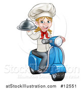 Vector Illustration of a Cartoon Happy White Female Chef Holding a Cloche Platter and Riding a Scooter by AtStockIllustration