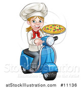 Vector Illustration of a Cartoon Happy White Female Chef Holding a Pizza on a Scooter by AtStockIllustration
