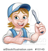 Vector Illustration of a Cartoon Happy White Female Electrician Holding up a Screwdriver and Pointing by AtStockIllustration