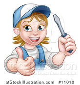Vector Illustration of a Cartoon Happy White Female Electrician Wearing a Cap, Holding up a Screwdriver and Giving a Thumb up by AtStockIllustration