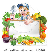Vector Illustration of a Cartoon Happy White Female Gardener in Blue, Holding a Garden Trowel and Giving a Thumb up over a White Sign with Produce by AtStockIllustration