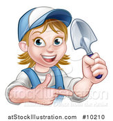 Vector Illustration of a Cartoon Happy White Female Gardener in Blue, Holding a Garden Trowel and Pointing by AtStockIllustration