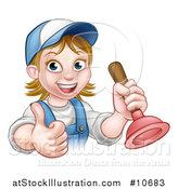 Vector Illustration of a Cartoon Happy White Female Plumber Giving a Thumb up and Holding a Plunger by AtStockIllustration