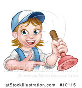 Vector Illustration of a Cartoon Happy White Female Plumber Holding a Plunger and Pointing by AtStockIllustration