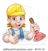 Vector Illustration of a Cartoon Happy White Female Plumber Wearing a Hard Hat, Giving a Thumb up and Holding a Plunger by AtStockIllustration