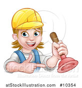 Vector Illustration of a Cartoon Happy White Female Plumber Wearing a Hard Hat, Pointing and Holding a Plunger by AtStockIllustration