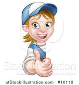 Vector Illustration of a Cartoon Happy White Female Worker Holding up Around a Sign by AtStockIllustration