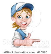 Vector Illustration of a Cartoon Happy White Female Worker Pointing Around a Sign by AtStockIllustration