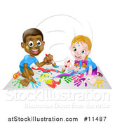 Vector Illustration of a Cartoon Happy White Girl and Black Boy Kneeling and Painting Artwork by AtStockIllustration