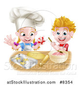 Vector Illustration of a Cartoon Happy White Girl and Boy Making Frosting and Star Shaped Cookies by AtStockIllustration