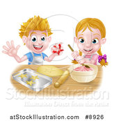 Vector Illustration of a Cartoon Happy White Girl and Boy Making Pink Frosting and Star Shaped Cookies by AtStockIllustration