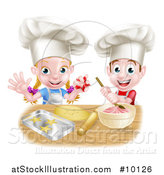 Vector Illustration of a Cartoon Happy White Girl and Boy Wearing Toque Hats, Making Pink Frosting and Star Shaped Cookies by AtStockIllustration