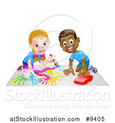 Vector Illustration of a Cartoon Happy White Girl Kneeling and Painting Artwork and Black Boy Playing with a Car by AtStockIllustration