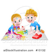 Vector Illustration of a Cartoon Happy White Girl Kneeling and Painting Artwork and Boy Playing with a Toy Car by AtStockIllustration