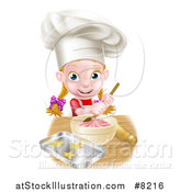 Vector Illustration of a Cartoon Happy White Girl Making Frosting and Star Cookies by AtStockIllustration